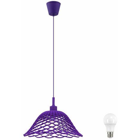 Colgando de la trenza de estar ligera comedor iluminación de techo púrpura en conjunto incl. Lámparas LED