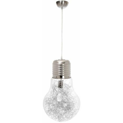 Colgante Cristal Bulb 31 cm Color: Satin Niquel/Transparente