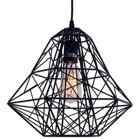 Colgante de Luz Creativa Negro Lámpara Colgante Retro Lámpara de Techo de Hierro, Luz Colgante Industrial, Sala de Estar Comedor Pasillo Luz de Jaula de Pájaros E27 (bombilla no incluida)