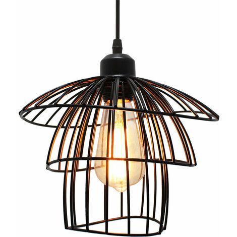 Colgante de Luz de Jaula de Metal Lámpara Colgante Creativa Vintage Luz Colgante Retro Negro Luz de Techo Industrial, Bombilla E27