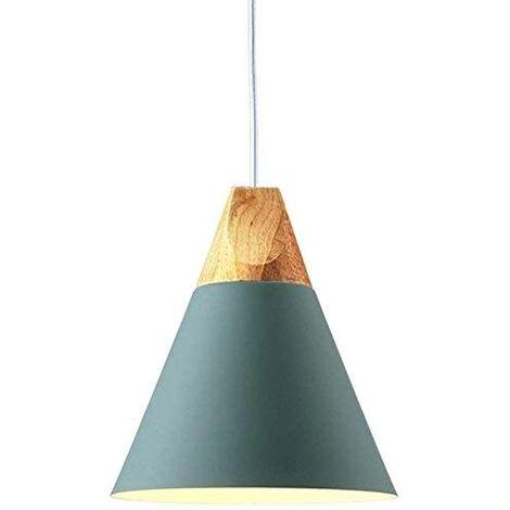 Colgante de Luz de Madera Lámpara Colgante Retro Moderna Lámpara Colgante Ajustable en Altura Lámpara de Techo Estilo Nórdico Macaron Lámpara Creativa en forma de Cono para Dormitorio Sala de Estar Azul Claro