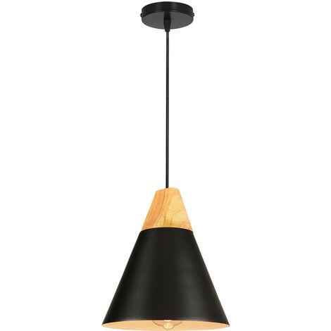 Colgante de Luz de Madera Lámpara Colgante Retro Moderna Lámpara Colgante Ajustable en Altura Lámpara de Techo Estilo Nórdico Macaron Lámpara Creativa en forma de Cono para Dormitorio Sala de Estar Negro