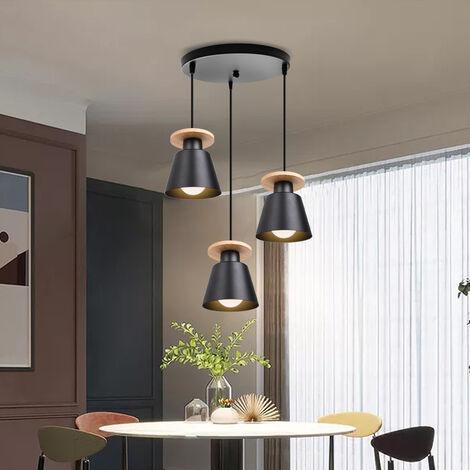 Colgante de Luz de Metal Moderno Lámpara de Techo Retro 3 Cabezas Luz Colgante de Estilo Nórdico Base E27 Fácil de Instalar