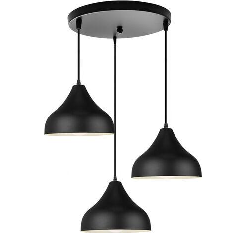 Colgante de Luz de Moda 3 Portalámparas Lámpara de Techo Moderna Lámpara Colgante de Estilo Retro Negro para Dormitorio Sala de Estar Cocina Bar Restaurante E27