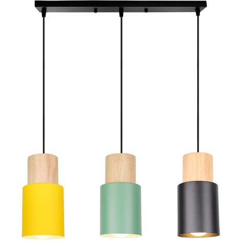 Colgante de Luz Minimalista Luz Colgante Moderna 3 Portalámparas Lámpara de Techo Retro Luz de Techo de Madera Lámpara Colgante Vintage