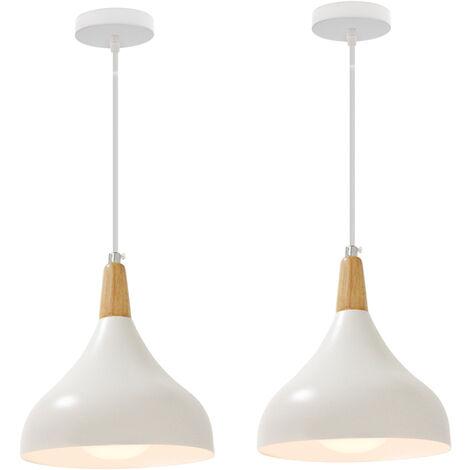 Colgante de Luz Moderna-Lámpara de Techo Retro Vintage Luz de Techo Blanco de Estilo Nórdico para Cocina, Comedor E27(2 Piezas)