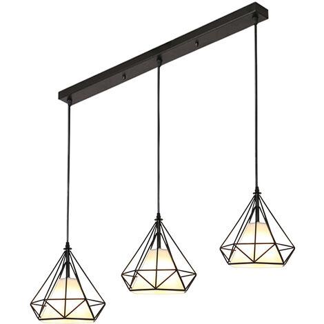 Colgante de Luz Retro Luz Colgante Vintage 3 Portalámparas Lámpara de Techo Industrial E27 20CM Lámpara Colgante de Jaula de Metal Forma de Diamante Negro
