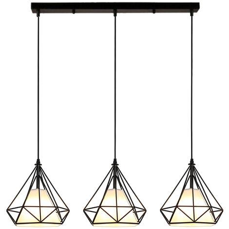 Colgante de Luz Retro Negro Luz Colgante Vintage 3 Portalámparas Lámpara de Techo Industrial E27 20CM Lámpara Colgante de Jaula de Metal Forma de Diamante