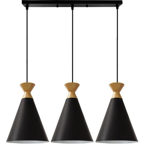 Colgante de Luz Vintage Lámpara Colgante Retro 3 Portalámparas Lámpara de Techo Antigua Lámpara Nórdica Luz Colgante de Estilo Minimalista Negro
