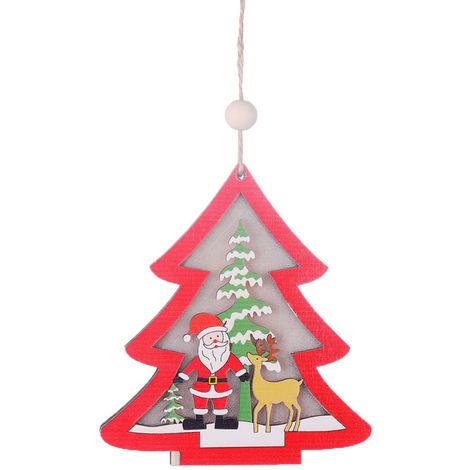 Colgante de madera de arbol de Navidad con luz,Arbol de navidad