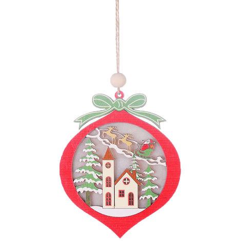 Colgante de madera de arbol de Navidad con luz,Bola de navidad