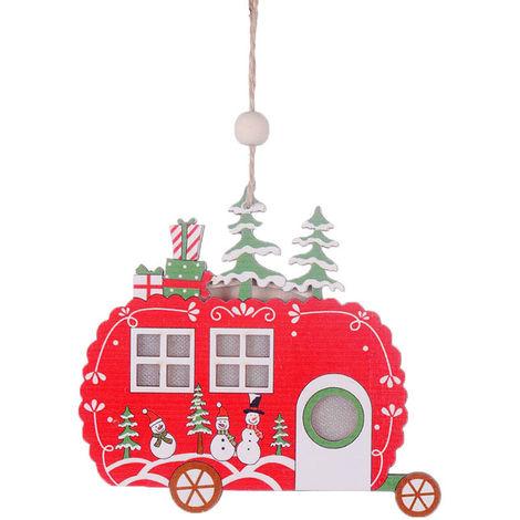 Colgante de madera de arbol de Navidad con luz,Coche