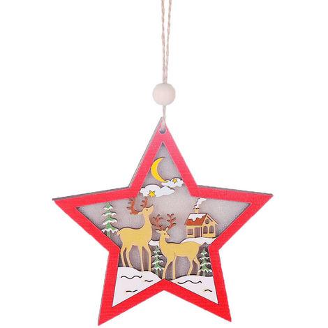 Colgante de madera de arbol de Navidad con luz,Pentagrama