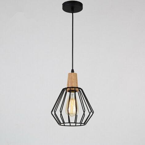 Colgante de madera Luces de techo modernas Lámpara de barra Colgante negro de cocina (bombilla no incluida)