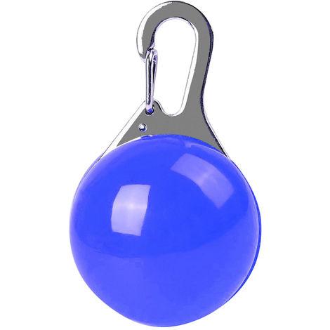 Colgante de perro con luz LED, llavero de seguridad nocturna, Azul