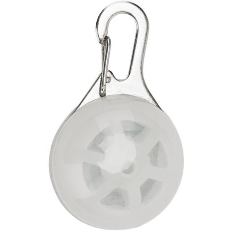 Colgante de perro con luz LED, llavero de seguridad nocturna, Blanco