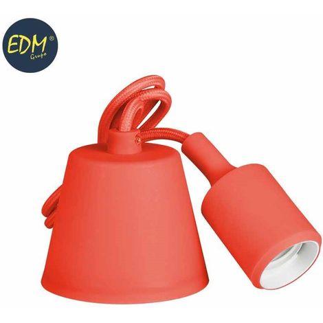 Colgante de silicona E27 60w rojo (98,4 cm) EDM