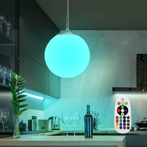 colgante LED de cristal ligero conjunto esfera lámpara cambiador de color incluyendo RGB lámparas LED