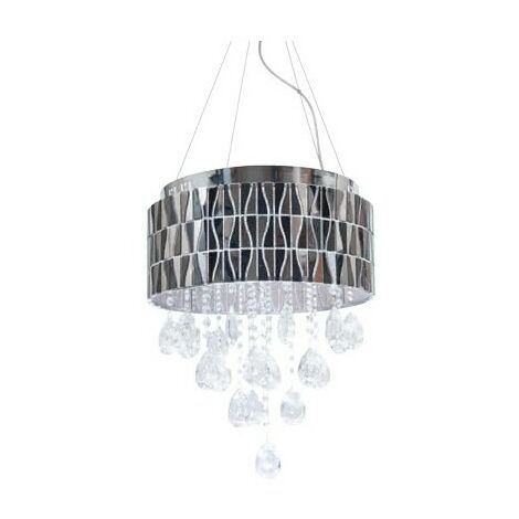 Colgante LED Lugano cromo/cristal regulable 4000k 35W D40