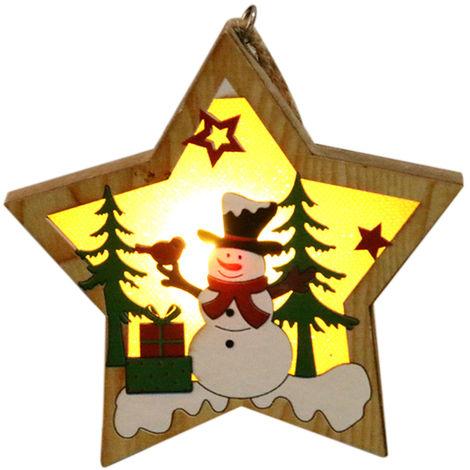Colgante luminoso de madera, colgante de arbol de Navidad, muneco de nieve Pentagram