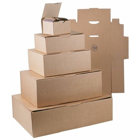 (COLIS 50 BOITES) Boîte postale brune 215 x 155 x 100mm