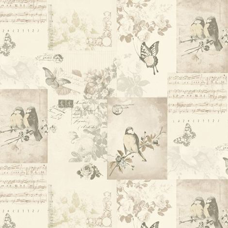 Collage Butterflies Flowers Floral Trees Wallpaper Songbird Cream Neutral Holden