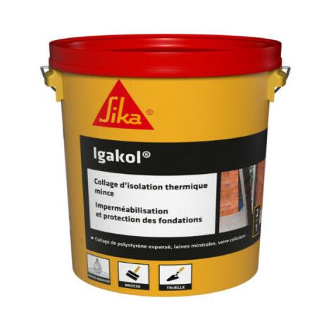 Collage d'isolant thermique et protection des fondations SIKA Igakol - Noir - 5kg