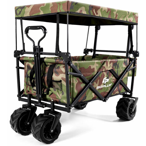 """main image of """"Collapsible Folding Wagon Cart Outdoor Utility Garden Beach Trolley W/Canopy"""""""