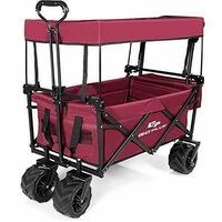 Collapsible Folding Wagon Cart Outdoor Utility Garden Beach Trolley W/Canopy Red
