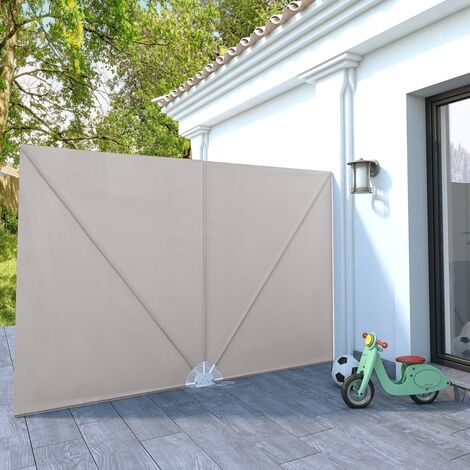 Collapsible Terrace Side Awning Cream 300x200 cm