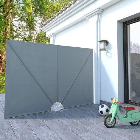 Collapsible Terrace Side Awning Grey 240x160 cm