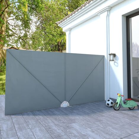 Collapsible Terrace Side Awning Grey 400x200 cm