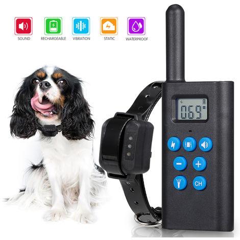 Collar 818 L-Formacion collar de perro Sin Corteza del choque del perro con el controlador remoto 984 pies Rango recargable de sonido de la vibracion de luz estatica