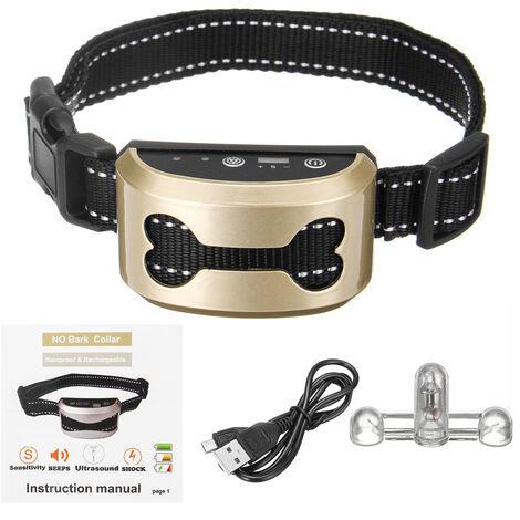 Collar antiladridos para mascotas Sensibilidad Impermeable Carga USB Dorado
