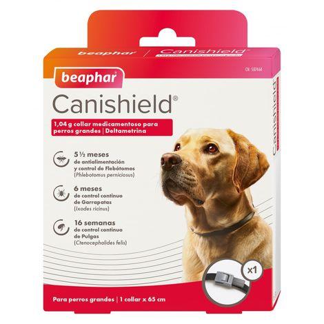 Collar Antiparasitario CANISHIELD para perros Razas Grandes - Deltametrina de Triple Protección Flebotomos, Garrapatas y Pulgas - 1 collar 65 cm