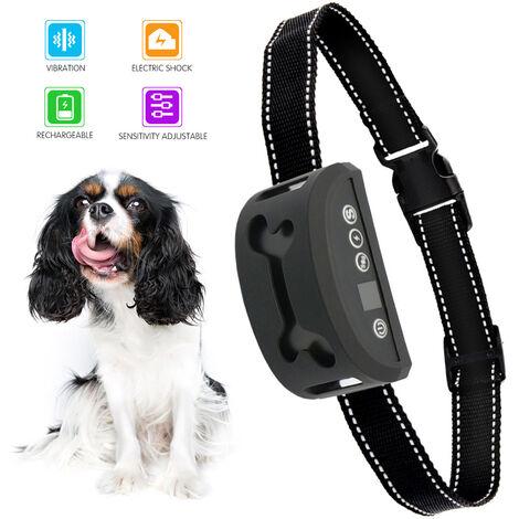 Collar de adiestramiento para perros, Collar de choque para perros, Ajuste de sensibilidad a golpes de vibracion 0-7 Niveles de choque Entrenador de perros