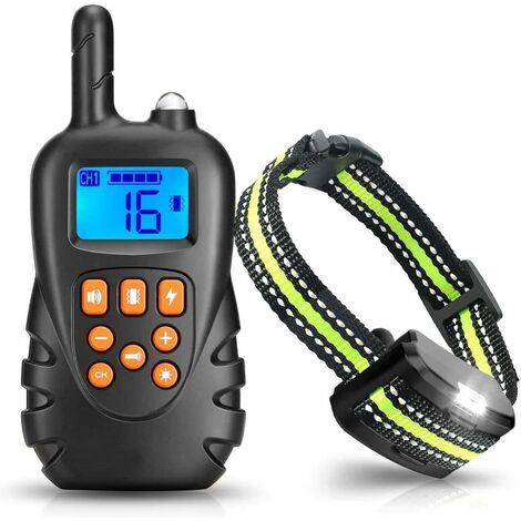 Collar de adiestramiento para perros LITZEE, collar antiladridos con control remoto de 600 metros Receptor IPX7 impermeable recargable con 3 modos de sonido de vibración / choque / pitido (gris)