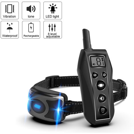 Collar de entrenamiento collar de perro impermeable recargable con modos de entrenamiento tono de vibracion de luz LED 600m remoto, el modo de vibracion ajustable Rango 8 Nivel