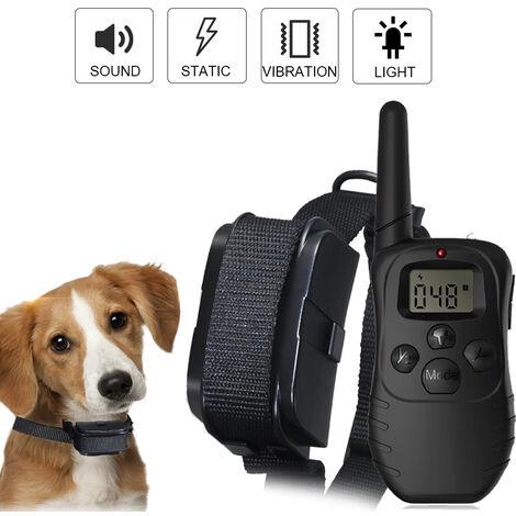 Collar de entrenamiento con collar alejado del choque del perro de vibraciones de sonido de choque de luz 984 pies remoto intervalo de 1-100 niveles de impacto Perro conjunto de entrenamiento