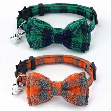 Collar de gato LITZEE Breakaway con pajarita y campana para gatos y algunos cachorros, ajustable de 7.8-10.5 pulgadas, juego de 2 (Verde y Naranja)