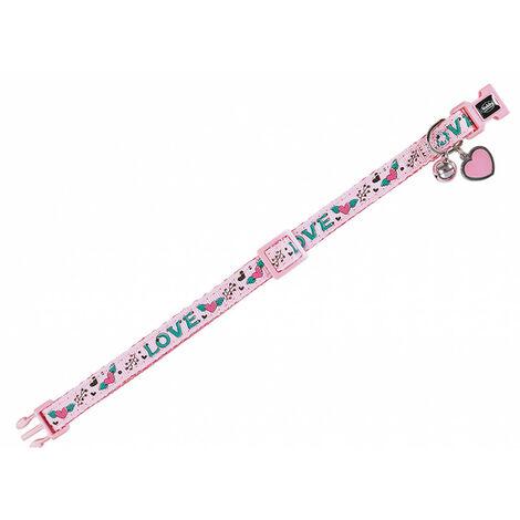 Collar de gato rosa LOVE. 20-30cm x 10mm.