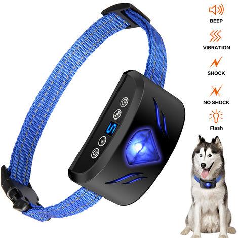 Collar de perro anti ladridos 6 en 1 collar ajustable Collar Bip vibracion del choque del entrenamiento con pantalla de visualizacion para Pequeno Mediano perros grandes