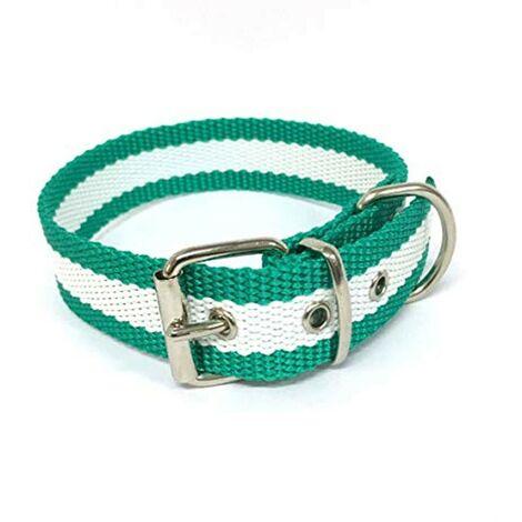 Collar de perro bandera de Andalucía   Collar de perro de nailon con refuerzo en piel   Collar 45 cms