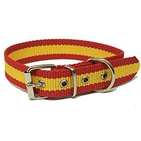 Collar de perro bandera de España   Collar de perro de nailon con refuerzo en piel   Collar 45 cms