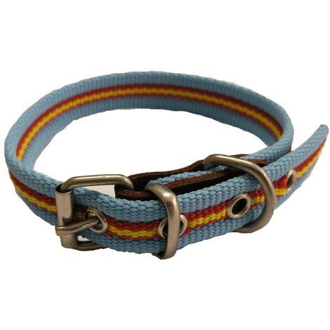 "main image of ""Collar de perro bandera de España color celeste | Collar de perro de algodon | Collar 30 cms"""