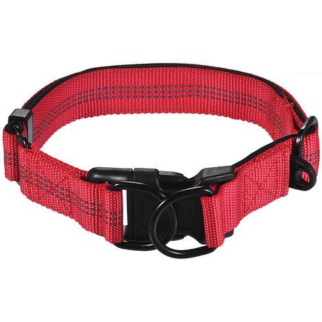 Collar de perro duradero, nylon de doble anilla, longitud ajustable