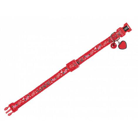 Collar gato LOVE rojo 20-30cm x 10mm