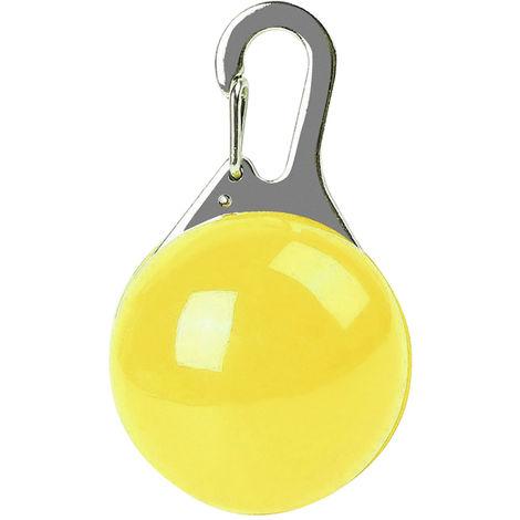 Collar luminoso LED para perros y gatos, llavero de seguridad nocturna, amarillo