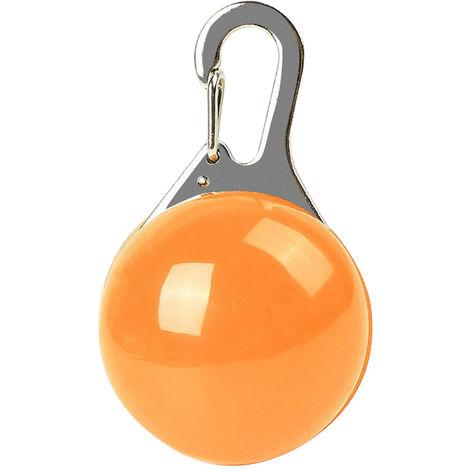 Collar luminoso LED para perros y gatos, llavero de seguridad nocturna, naranja