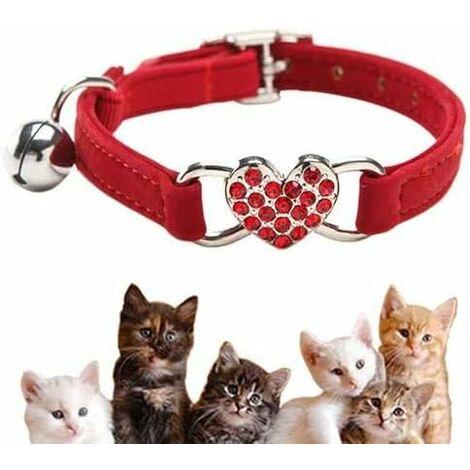 Collar para gatos LITZEE, collar ajustable para gatos hecho de suave terciopelo con campana, lindos artículos para mascotas, adecuado para la mayoría de gatos y perros pequeños (17 cm-28 cm)